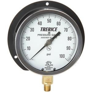H.O. Trerice 4 1/2 x 1/4 in. 0-100 psi Pressure Gauge T500XB0100R