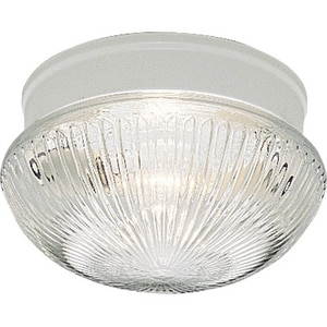 Progress Lighting Fitter 60 W 2-Light Medium Fitter Close-to-Ceiling Fixture with Clear Prismatic Glass PP3406