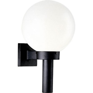 Progress Lighting 11 in. 150W 1-Light Outdoor Wall Sconce with White Shatter Resistant Acrylic Glass in Black PP563660