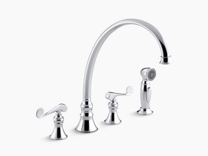 Kohler Revival® 1.5 gpm Double Lever Handle Deckmount Kitchen Sink Faucet High Arc Spout K16111-4