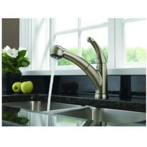 Delta Faucet Palo® 1.8 gpm Single Lever Handle Deckmount Kitchen Sink Faucet 120 Degree Swivel Pull-Out Spout 3/8 in. Compression Connection D467DST