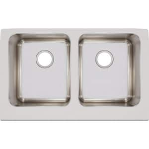 Elkay Gourmet® 33 x 22-1/2 in. Double Bowl Apron Fron Undermount Sink Lustrous Highlighted Satin EELUHF3320
