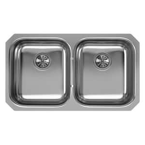 Elkay Gourmet® 31-1/4 x 20 x 8 in. Equal Double Bowl Undermount Sink Soft Highlighted Satin EEGUH3118