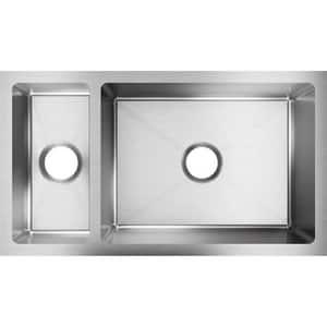 Elkay Crosstown™ 2-Bowl Undermount Kitchen Sink with Center Drain in Polished Satin EEFRU321910