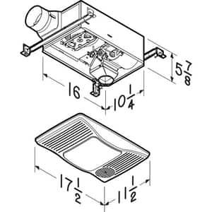 Broan Nutone Heater/Fan/Light 100W Incandescent Light 100 CFM B100HL
