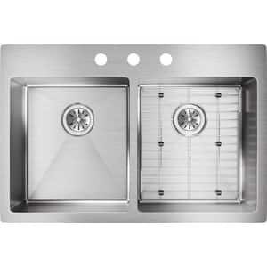Elkay Crosstown™ 3-Hole 2-Bowl Dualmount Kitchen Sink Kit in Polished Satin EECTSR33229BG3