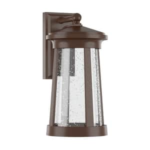 Park Harbor® Woodberry 9-3/4 in. 12W 1-Light Tall Integrated LED Outdoor Wall Sconce with Seedy Glass Shade PHEL3104LED