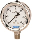 Wika 2-1/2 x 1/4 in. 100 psi Stainless Steel Lower Mount Liquid Filled Pressure Gauge in Stainless Steel W9833574