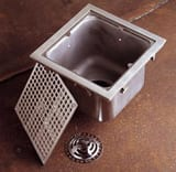 Jay R. Smith Sani-Ceptor® 4 in. No-Hub 304 Stainless Steel Floor Sink Drain with Square Stainless Steel Top S3001Y04