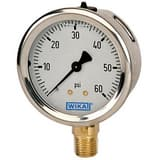 Wika Instrument Bourdon 4 x 1/4 in. 160 psi Brass Lower Mount Pressure Gauge W9699079 at Pollardwater