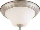 Nuvo Lighting Dupont 13 in. 2-Light Medium Dome Flushmount Ceiling Light in Brushed Nickel with White Satin Glass Shade N601825