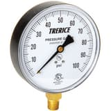 H.O. Trerice 800B Series 4 x 1/4 in. 30 in HG-0 psi Brass Lower Mount Vacuum Gauge T800B4002LA010