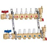 Caleffi North America TwistFlow 1 x 3/4 in. NPT Brass Pre-Assembled Distribution Manifold with 6 Outlet C6686F5S1A