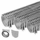 Advanced Drainage Systems 5 in. x 8 ft. Channel Drain with Mounting Kit in Grey A0588CHYK