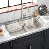 Mirabelle 34 x 21 in.Double Bowl Undermount Recessed Bridge Sink No Hole MIRURB3421