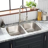 Mirabelle 32-3/4 x 20-3/8 in. Double Bowl Undermount Sink No Hole MIRUC3321E