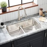 Mirabelle® Bridgehurst® 32 x 18-1/2 in. Double Bowl Undermount Recessed Bridge Stainless Steel Sink No Hole MIRURB3219