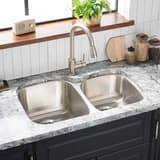 Mirabelle® Calverton 31-3/8 x 20-3/8 in. Double Bowl Left Hand Undermount Sink No Hole MIRUC3221L