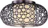 Maxim Lighting International Meridian 16-1/2 in. 1-Light Flushmount in Umber Bronze with Dusty White Glass Shade M21340DWUB