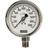 WIKA Bourdon 2-1/2 in. -30 hg 0 psi 1/4 in. MNPT Glycerin Filled Pressure Gauge Lead Free W9831784 at Pollardwater