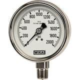 WIKA Bourdon 4 in. -30 hg 0 psi 1/4 in. MNPT Dry Pressure Gauge Lead Free W9745300 at Pollardwater