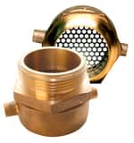 Service Brass Fittings 2-1/2 in. FNST x 2-1/2 in. MNST Brass Swivel Adapter with Debris Screen S072PF250AM250A at Pollardwater
