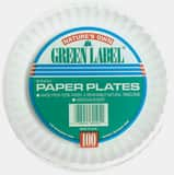 AJM 9 in. Paper Plate with Green Label in White APP9GREWH