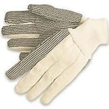 Memphis Glove L Size Cotton and PVC Gloves in Natural and Black M8800C