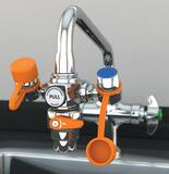 Guardian Equipment EyeSafe™ Faucet Mount Eye Wash with Faucet Control Valve in Polished Chrome GG1200 at Pollardwater