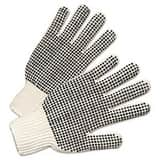 Anchor PVC-Dotted String Knit Gloves in Natural White and Black ANR6705