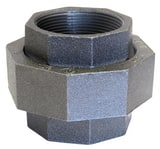 Anvil Ground Joint 150# Iron and Brass Black Malleable Union BLF150U