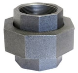 Anvil Ground Joint 250# Iron and Brass Black Malleable Union BLF250U