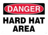 Accuform Signs 14 x 10 in. Adhesive Vinyl Sign - DANGER HARD HAT AREA AMPPA005VS at Pollardwater