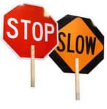 18 RFLCT STOP/SLOW SIGN W/ WOOD HDL T18018SSNS