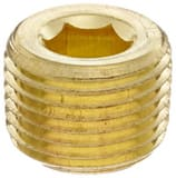 Merit Brass 1/4 in. Brass MNPT HEX Countersunk Plug BRTPLFBCSPB