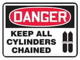 Accuform Signs 14 x 10 in. Adhesive Vinyl Sign - NOTICE KEEP ALL CYLINDERS CHAINED AMCPG825VS at Pollardwater