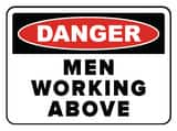 Accuform Signs 14 x 10 in. Adhesive Vinyl Sign - DANGER MEN WORKING ABOVE AMCRT016VS at Pollardwater