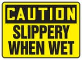 Accuform Signs 14 x 10 in. Aluminum Sign - CAUTION SLIPPERY WHEN WET AMSTF642VA