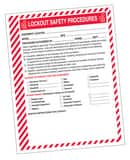 Lockout Safety PROCEDURE FORMS 25 Pack AKSS144 at Pollardwater