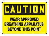 Accuform Signs 14 x 10 in. Plastic Sign - CAUTION WEAR APPROVED BREATHING APPARATUS BEYOND THIS POINT AMPPE767VP at Pollardwater