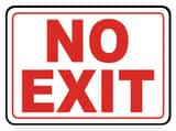 Accuform Signs 14 x 10 in. Plastic Sign - NO EXIT AMADC529VP at Pollardwater