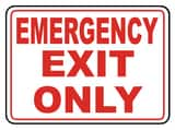 Accuform Signs 14 x 10 in. Adhesive Vinyl Sign - EMERGENCY EXIT ONLY AMEXT918VS at Pollardwater