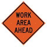 VizCon 36 x 36 in. Work Area Ahead Sign in Fluorescent Orange V26036EFOHFWAA