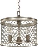 Capital Lighting Fixture Eastman 13-3/4 in. 3-Light Medium E-26 Base Incandescent Pendant in Bronze and Silver C4883SZ