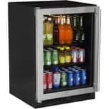 Marvel Industries Beverage Center with Right Glass Door Hinge in Stainless Steel MML24BCG0LS