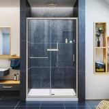 DreamLine Infinity-Z 48 in. Frameless Sliding Shower Door with Clear Glass in Brushed Nickel DSHDR094872004