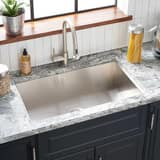 Signature Hardware Sitka 33 x 22 in. Stainless Steel Single Bowl Dual Mount Kitchen Sink in Brushed Stainless Steel MIRDM1BZ