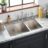 Mirabelle® Sitka 14-1/2 in. 4-Hole 2-Bowl Undermount, Self-Rimming and Topmount Kitchen Sink with Rear Center Drain in Brushed Stainless Steel MIRDM2BZL4
