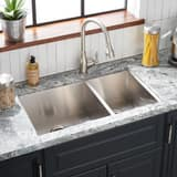 Mirabelle® Sitka 1-Hole 2-Bowl Undermount, Self-Rimming and Topmount Kitchen Sink with Rear Center Drain in Brushed Stainless Steel MIRDM2BZL1