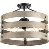 Progress Lighting Gulliver 17 in. 3-Light Semi-Flush Convertible in Graphite PP350049143
